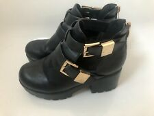 Black chunky ankle boots - size 4