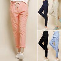 Fashion Casual Harem Drawstring Cotton Linen Elastic Waist Pants Womens Trousers