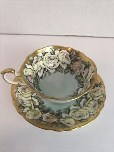 Rare PARAGON BY APPOINTMENT White Gardenia on Mint Gold Gild- Tea Cup & Saucer