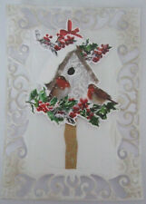 BIRD House con Robins cartolina di Natale topper HAND MADE FOR Card Making