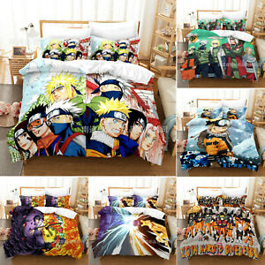 NARUTO0 3PCS Bedding Set Anime Quilt Duvet Cover Pillowcase Comforter Cover
