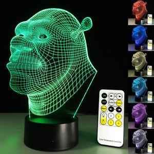 3D LED Night Light Shrek Cartoon Touch Swift Table Desk Bed Lamp Gifts 7 Colour