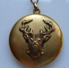 Gold Fill Elk Locket Pendant w Masonic Engraving on the back + 18 Inch GF Chain