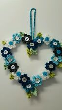 "HANDMADE CROCHET FLOWERS HEART WALL HANGING  MULTI-COLOURS  22 X 22 CM  [8 5/8""]"