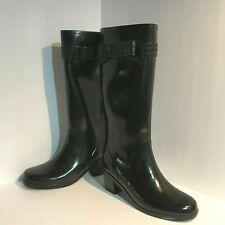 Women's Kate Spade New York Black Rubber Bowtie High Rain Boots Heels Size 9