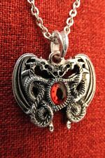Double Dragon Crystal Pendant Heart Celtic Smaug Norse Viking Medieval Silver
