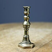 Miniature solid brass candlestick vintage Victorian style patina hexagonal base