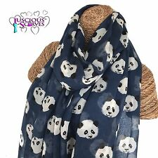 PANDA SCARF , NAVY SCARF WITH CUTE PANDAS DESIGN LADIES SUPERB SOFT QUALITY