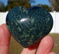 Fabulous Green KAMBABA Jasper FOSSIL Heart Point Crystal Orbs Kambaby For Sale