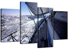 Large Blue Canvas Wall Art Pictures Yachts Boats Sea XL 130cm Set 4105