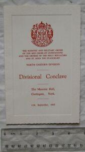 1965 menu Red Cross of Constantine NE Divisional Conclave, York