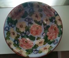 "Lesal Ceramics Hand Painted Floral  Bowl 13.5"" Lisa Lindberg Van Nortwick SIGNED"
