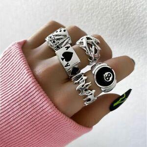 Korean Retro Punk Gothic Love Heart Ring Set Butterfly Finger Hip Hop Jewelry