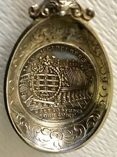 RARE Antique German Sterling Silver Souvenir Spoon Medal Coin Heidelberg Germany