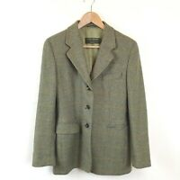 Luciano Barbara Jacket 42 Green Print Plaid 100% Cashmere Blazer Women's Career