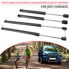 Pair Front Shock Hood Struts & Rear Window Glass Lift Supports For Jeep Cherokee