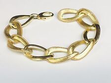 "14kt YELLOW gold FASHION link BRACELET 8""  17 MM  15 grams"