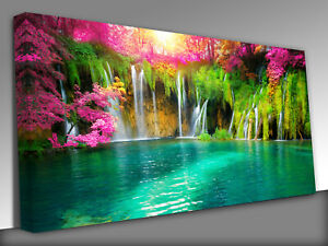 Exotic waterfall and lake of Plitvice Lakes Panoramic Canvas Wall Art Picture