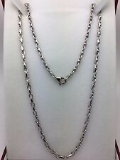 """10k oro blanco enlace collar de moda hecha a mano 20"""" 4mm 23.5 gramos"""