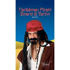 Caribbean Pirate Beard & Tash Fake Moustache Tache for Fancy Dress Jack Sparrow