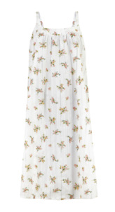 EX M&S WHITE COTTON STRAPPY DITSY FLORAL LONG NIGHTDRESS NEW