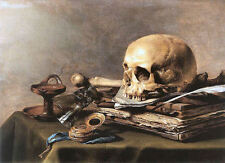 Vanitas Still Life Skull Print by Pieter Claesz Painting Fine Art Canvas Picture
