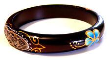 BRACELET JONC BOIS ARTISANAT BIJOUX  Ethnique wooden bracelet wood FLEUR FLOWER