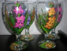HAND PAINTED VIBRANT GLADIOLA ICE TEAS / SET OF 4(MADE IN THE USA)
