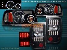 2001-2011 FORD RANGER TWO HALO CCFL LED BLACK HEADLIGHTS + LED TAIL LIGHTS BLACK