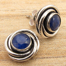 925 Silver Plated Simulated SAPPHIRE BLUE Stone Stud Earrings Personal Style