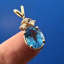 14K Yellow Gold London Blue Topaz Diamond Drop December Anniversary Pendant