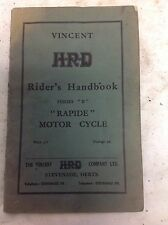Preliminary Issue The Vincent HRD H.R.D Riders Handbook Series B Rapide 1955