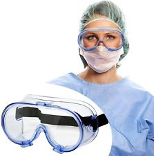 Full Sealed Safety Goggles Over Glasses Anti Fog Clear Lens Lab Eye Protective