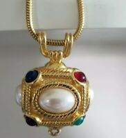 Vintage Gold Tone Necklace Gripox Glass Crystal Faux Pearl Reversible Pendant