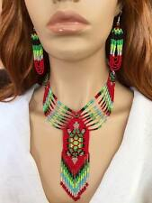 NEW WOMEN CHUNKY RED GREEN TURTLE NECKLACE EARRINGS SET S54/8