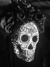 Day Of The Dead Mask Dia De Los Muertos Black Silk Roses Tattoo Art wearable