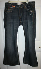 Mens Lr Geans Roots People Blue Denim Embroidered Button Fly Jeans Sz 42W x 34L