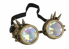 Kaleidoscope Gold Steampunk Spike Goggles Punk Gothic Kaleidoscopic Goggles