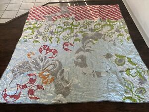 Anthropologie Fred Shand Embroidered Queen Quilt Paisley And Celestial