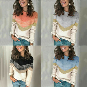 Womens Winter Pullover Sweater Ladies Long Sleeve Knitted Jumper Tops Plus Size