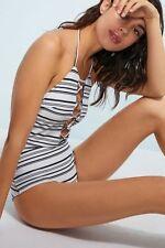 NWT Anthropologe Citrine Swim Lace-Up Hibiscus One-Piece Swimsuit Sz. Medium