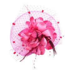 SN_ EG_ Women Fascinators Hat Feather Floral Hair Clip Cocktail Tea Party Head