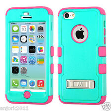 IPHONE 5C HYBRID T ARMOR CASE W/STAND COVER + SCREEN PROTECTOR TEAL GREEN PINK