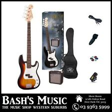 SX PB Bass Guitar Starter Package with Amp + Tuner + Bag Sunburst
