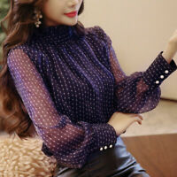 Polka Dot Chiffon Women Long Sleeve Spring Elegant Floral Lace Shirt Blouse Tops