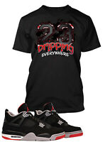 T Shirt to Match Air Jordan 4 Bred Shoe Graphic Tee Pro Club Big and Tall Small
