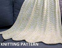 (184) Baby Blanket Copy Knitting Pattern, Easy Knit Design in Aran yarn