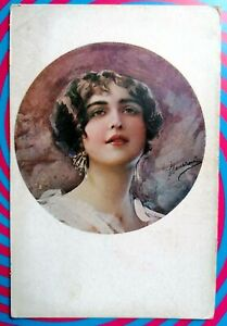 GUERZONI Italian artist Fashion Glamour Girl Series 1016/6 PC Circa 1918 A