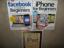 $65 LOT of 3 Learning with your iPAD + iPHONE for Beginners + FACEBOOK A Guide