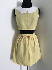 Vintage Yellow Gingham 2 Piece Crop Top & Skirt Cute Retro 1960's Festival Wear